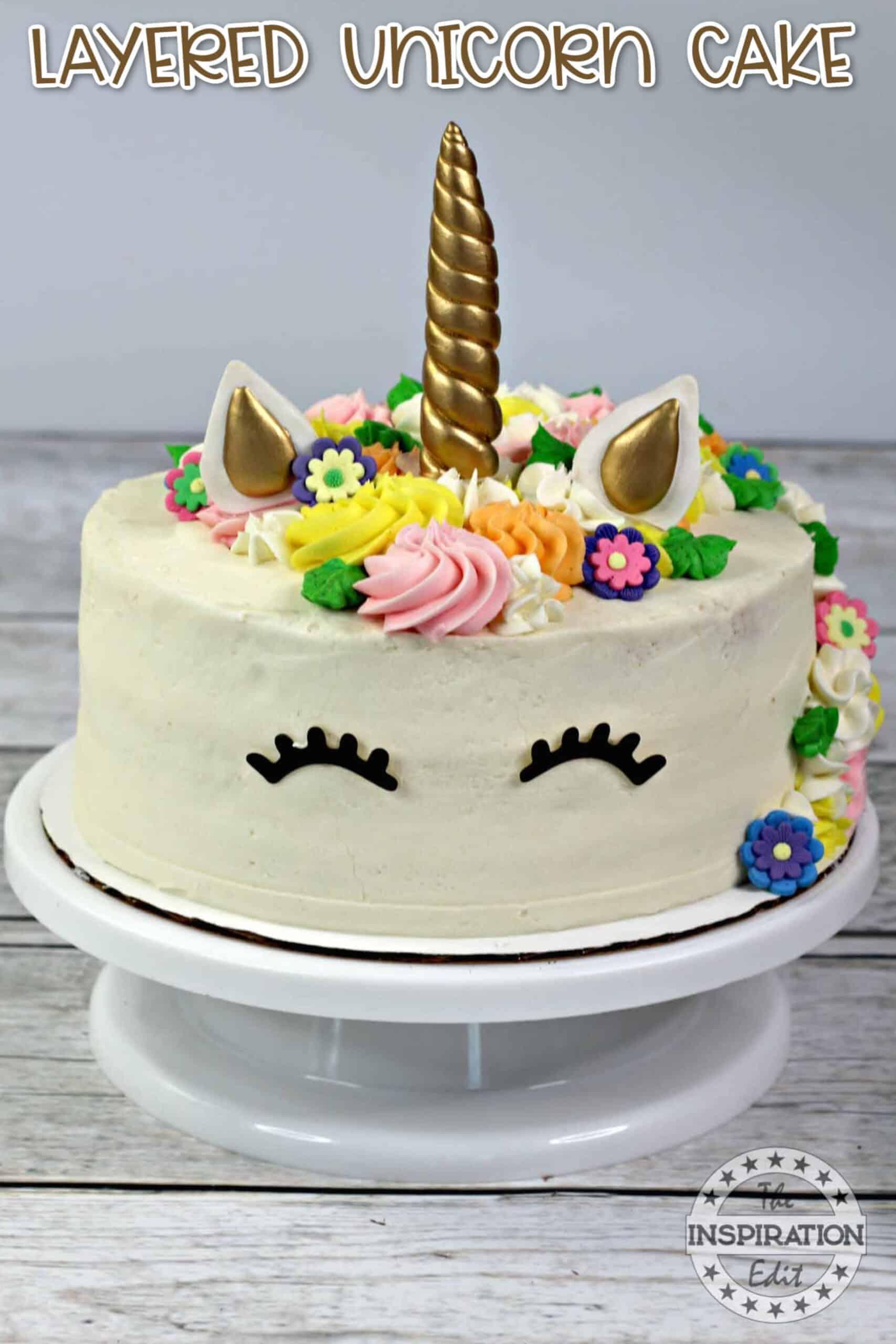 layered unicorn cake