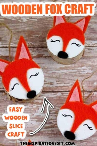 woodland fox wooden slice ornament