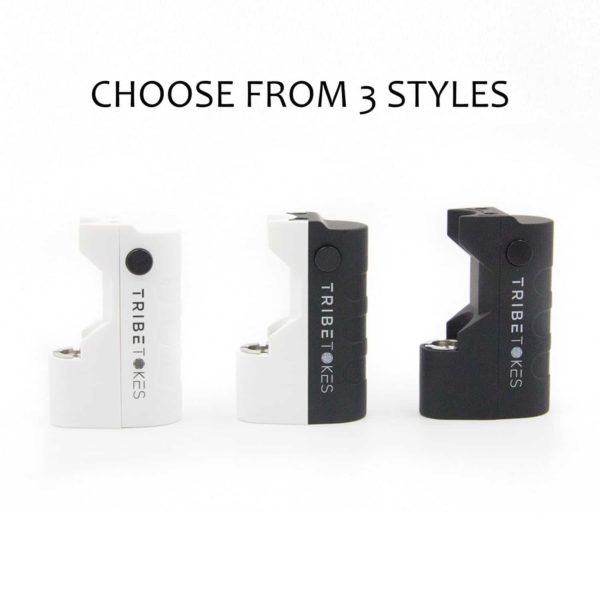 Three styles of the TribeMINI palm-sized vape battery