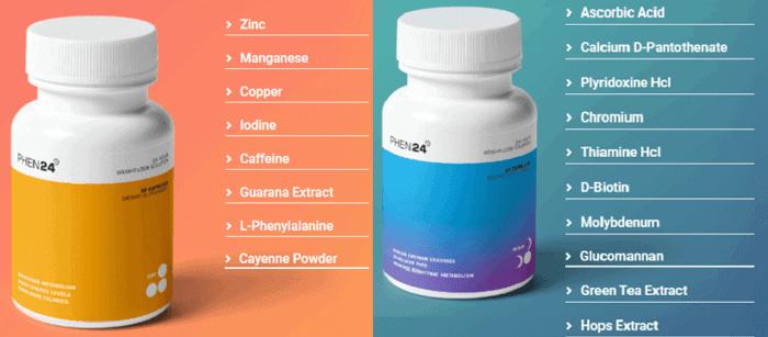 Phen24 Day Vs Night Ingredients Comparison