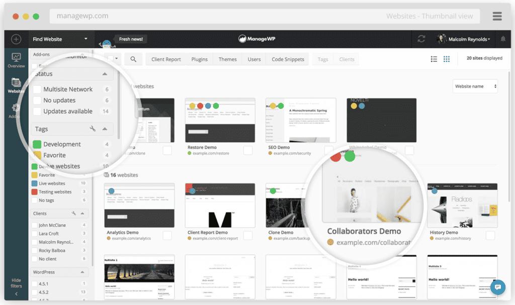 managewp dashboard - ManageWP vs MainWP: Best WordPress Management App (2020)