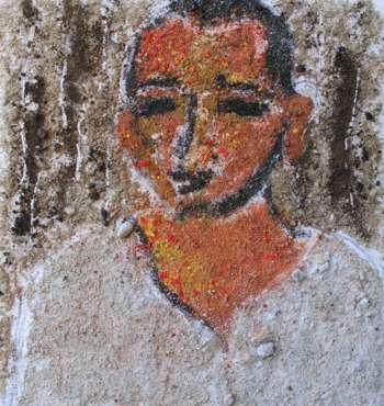 Portrait. Textured paint on wood