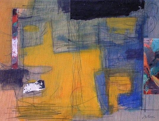 Clases de pintura en collage, acrílico y tinta en Barcelona. Obra de Agustí Roca