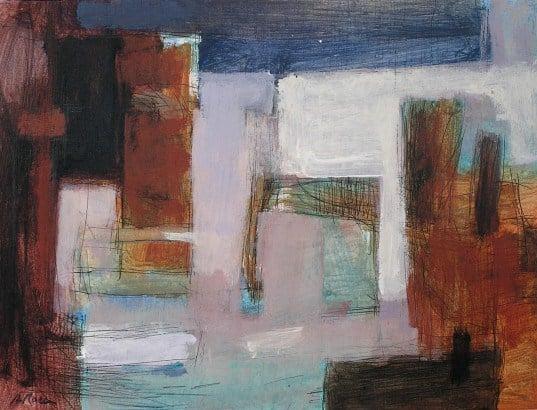 Quadre de tema de paisatge en pintura acrílica i tinta a classes de BARCELONA