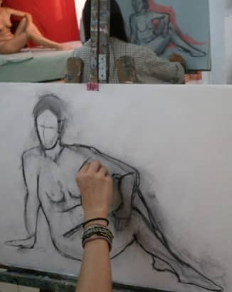 Dibujo con modelo en Barcelona