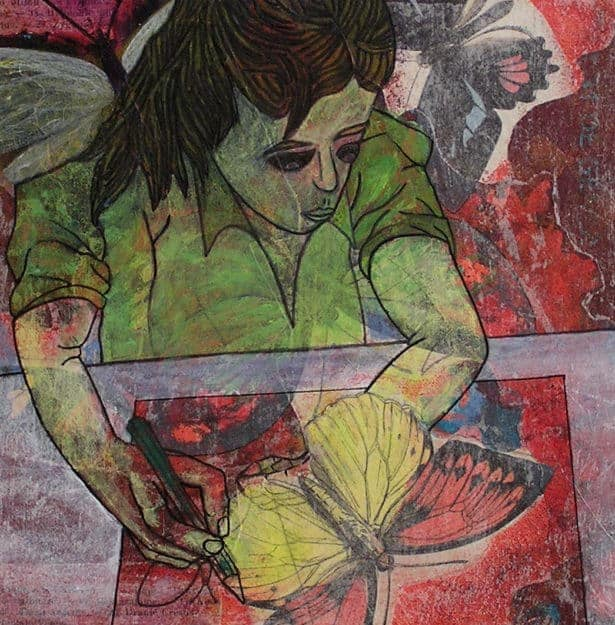 Mixed media: collage and painting
