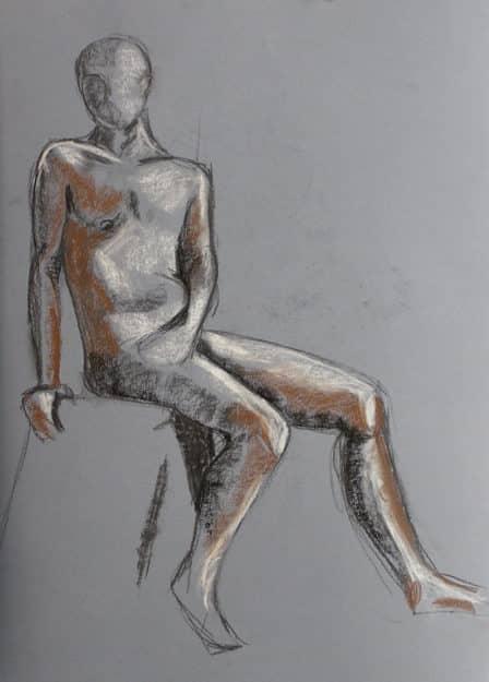 Human figure. Live model drawing. Barcelona