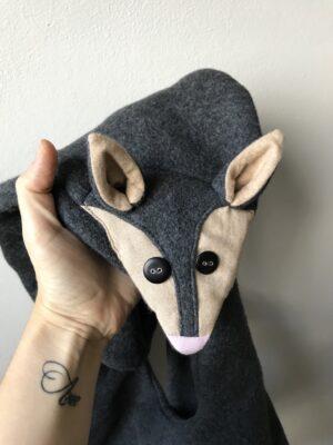 Cruelty-free Fuchs Schal aus Bio-Baumwolle - Grau