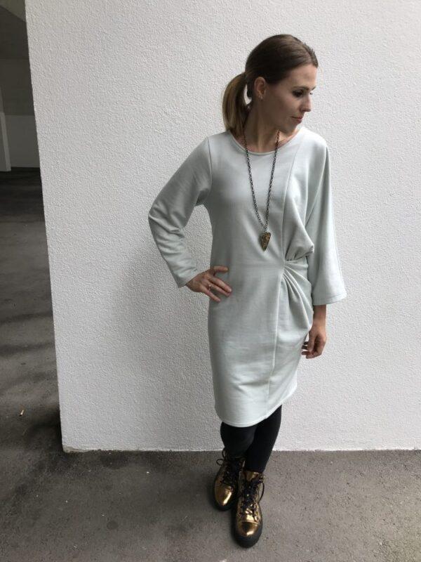 Langarm Kleid aus Bio Baumwolle - Eisblau