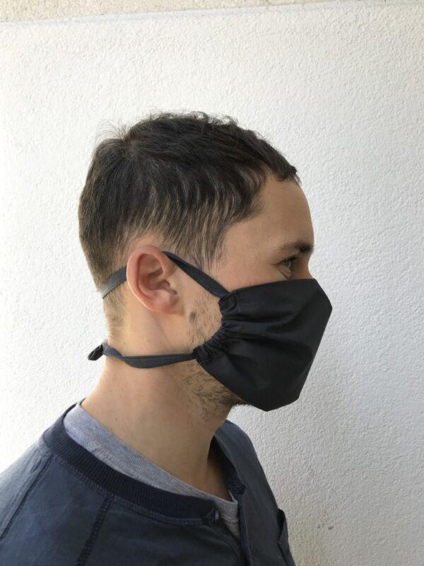 Mund-Nasen-Maske aus Bio-Baumwolle - Herren - Schwarz