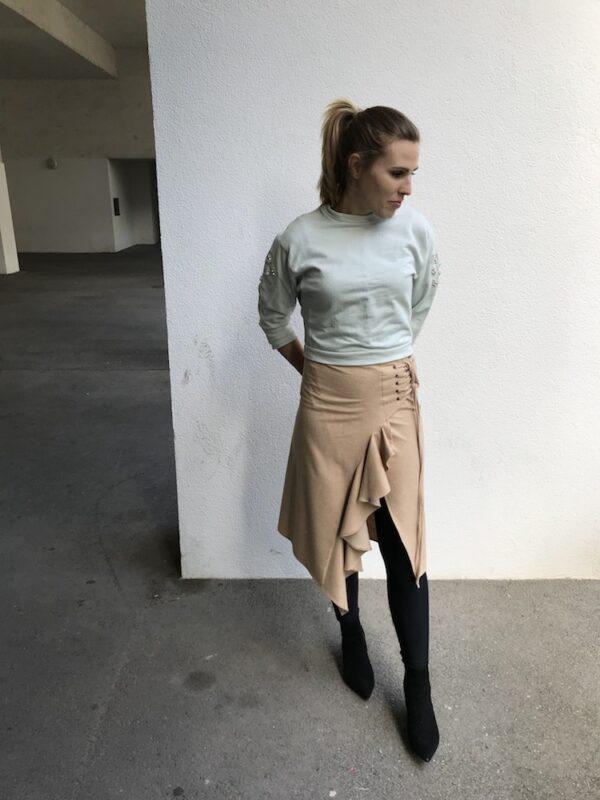 Handmade ruffle wrap skirt - beige - with leggings