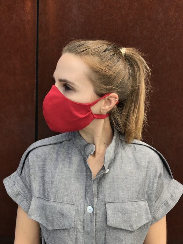 Red face mask with ties - organic cotton - left