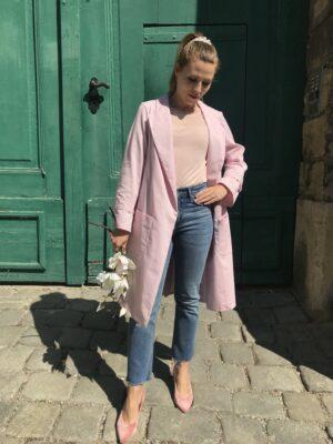 Rosa Trenchcoat für Damen aus Bio-Baumwolle - Offen