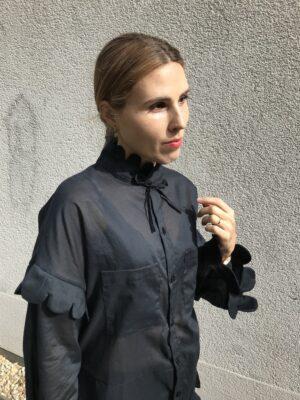 Long Cotton Shirt Dress - Black - Close-Up