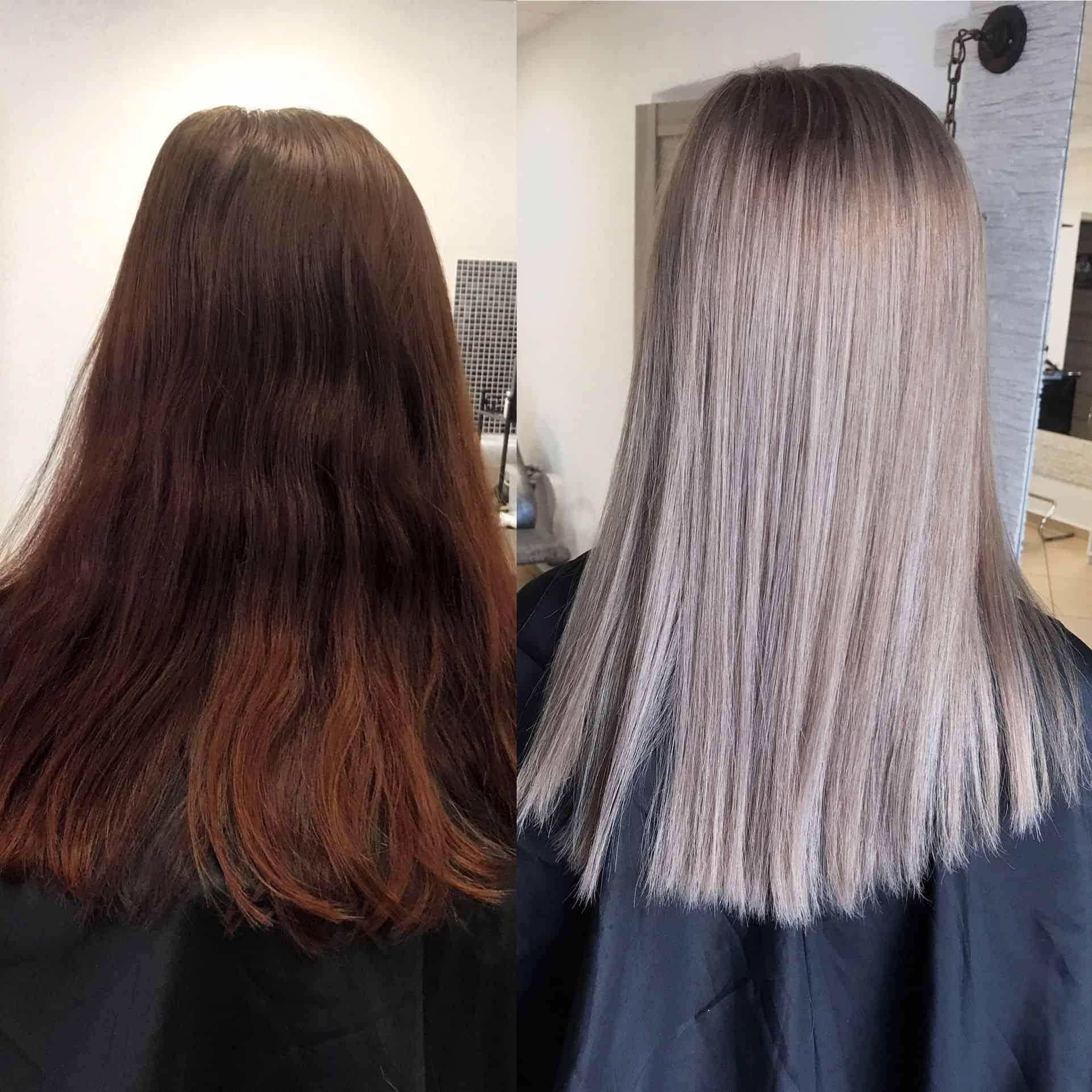 Coloration des cheveux avec le traitement capillaire Olaplex : avant / après