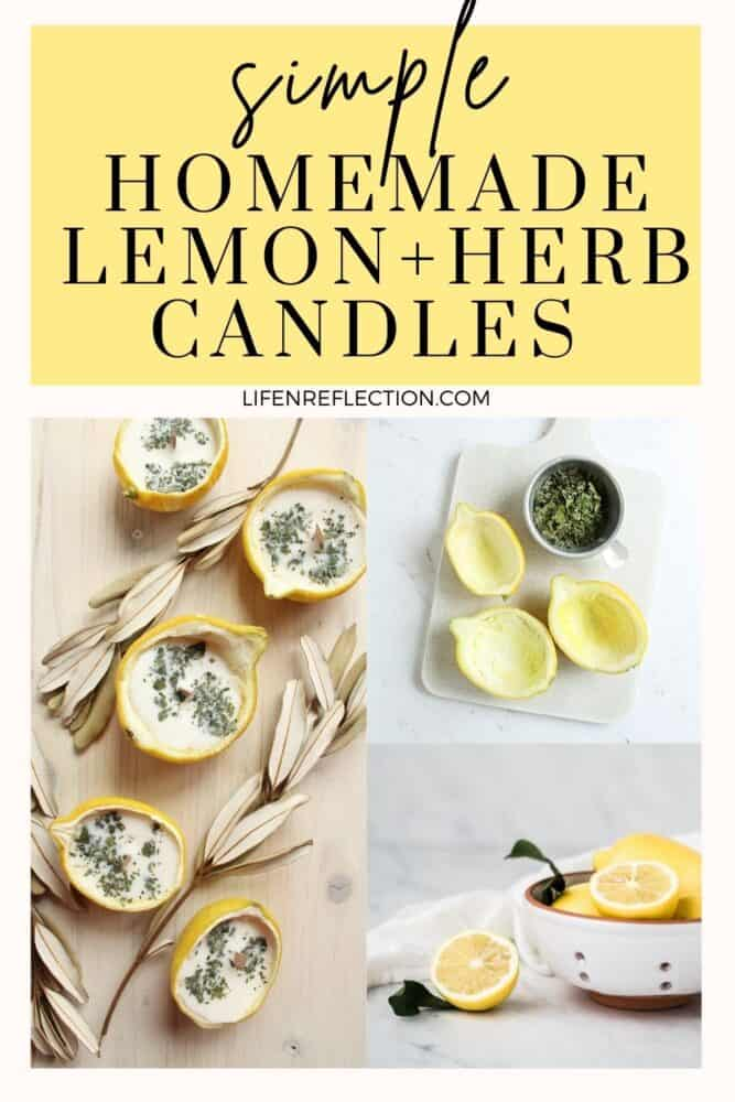 Simple lemon and herb homemade candles!