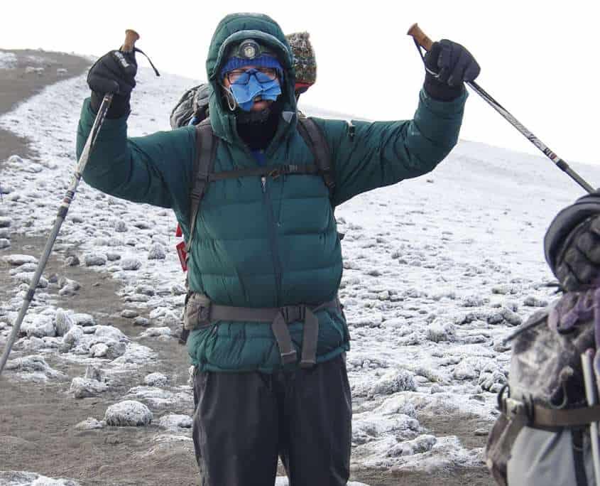 On the summit of Kilimanjaro on the charity trek
