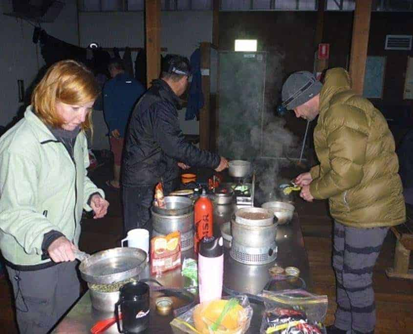 Cooking dinner in the huts on the Overland Track in Tasmania