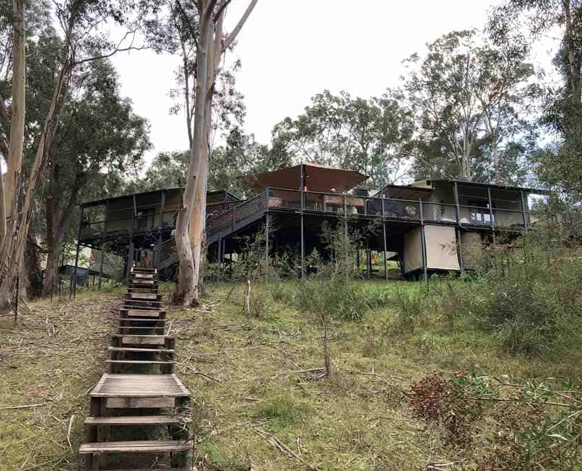 The front view of the 6 Foot Track Eco Lodge