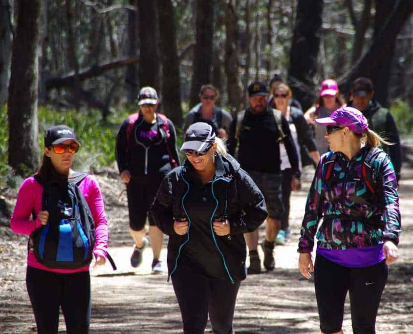 The Peak Potential Adventures team on the first day of their Six Foot Track trek through the Blue Mountains