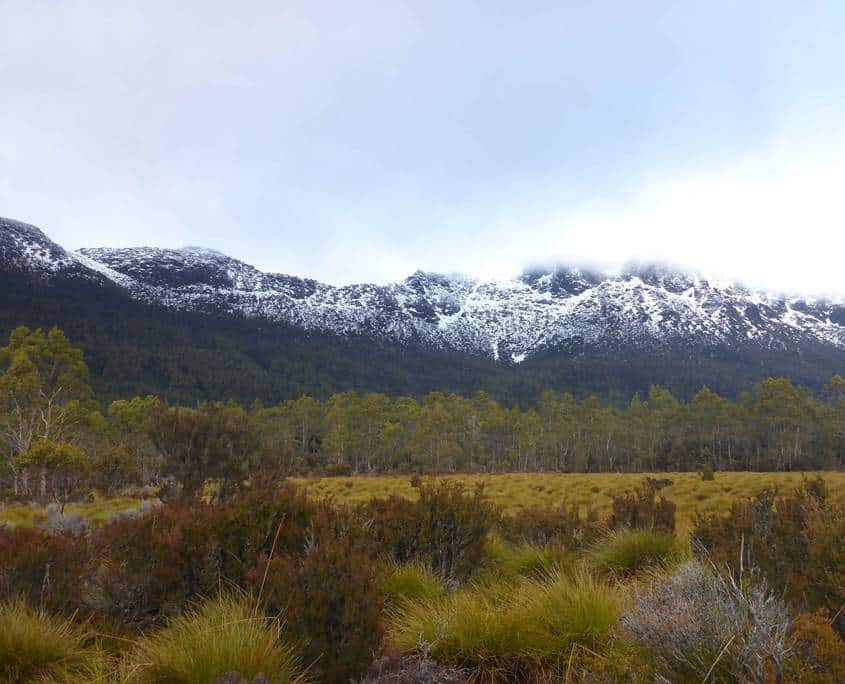 Snow on the mounatins in the distance on the Overland Track in Tasmania