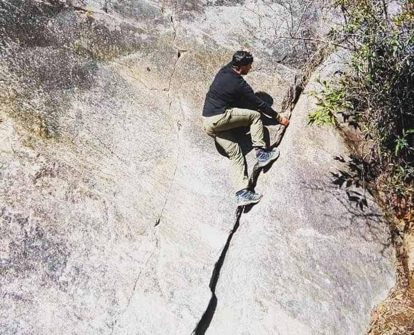 Luke Villes doing some rock climbing in his sparetime