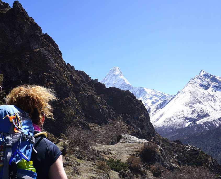 Trekking to Everest Base Camp with Ama Dablam in the Distance