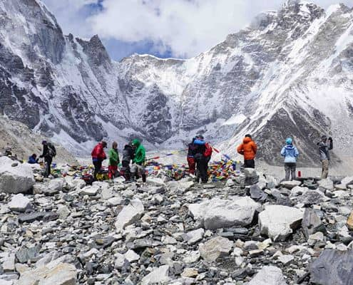 Standing at Everest Base Camp n the Himalayas