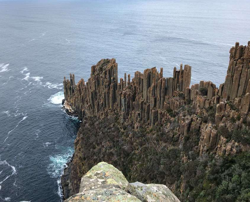 The Organ Pipe rock formations at the end of Cape Raoul