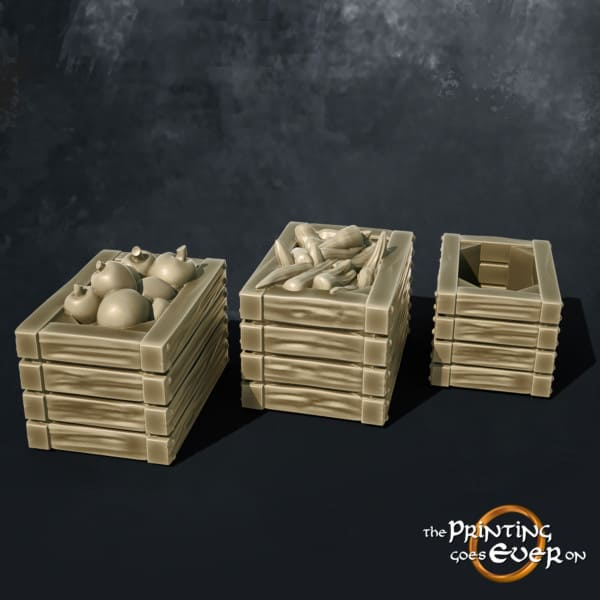 wooden crates with apples and carrots 3d printable tabletop miniatures