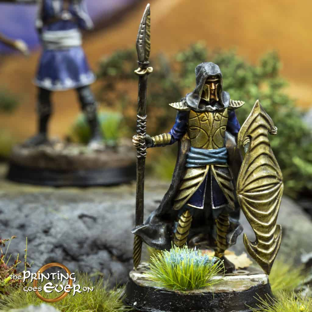 elf guard in gold elven armor with spear and shield