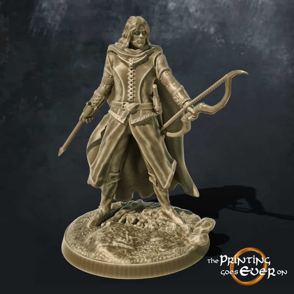 ranger with bow and arrwo 3d printable tabletop miniature