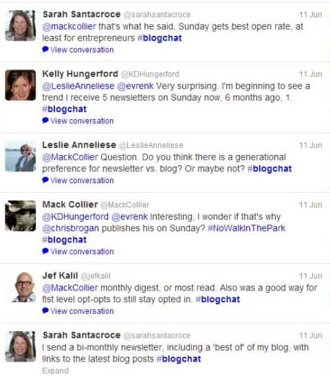 tweets from #blogchat