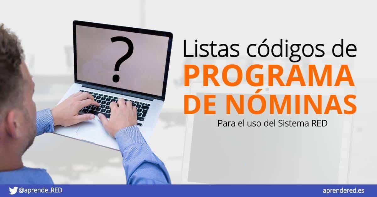 Lista de códigos de programa de nóminas