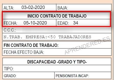 IDC trabajador subrogado FIC (Fecha de inicio de contrato)