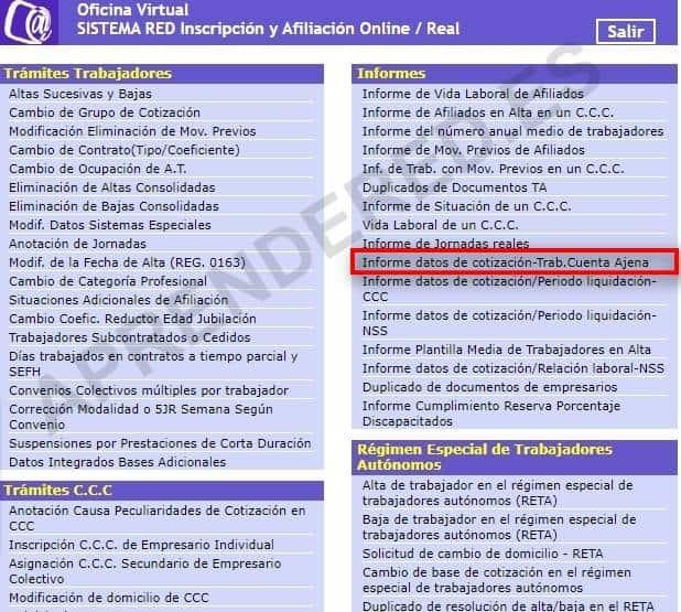 Informe de datos de cotización trabajador cuenta ajena IDC Sistema RED