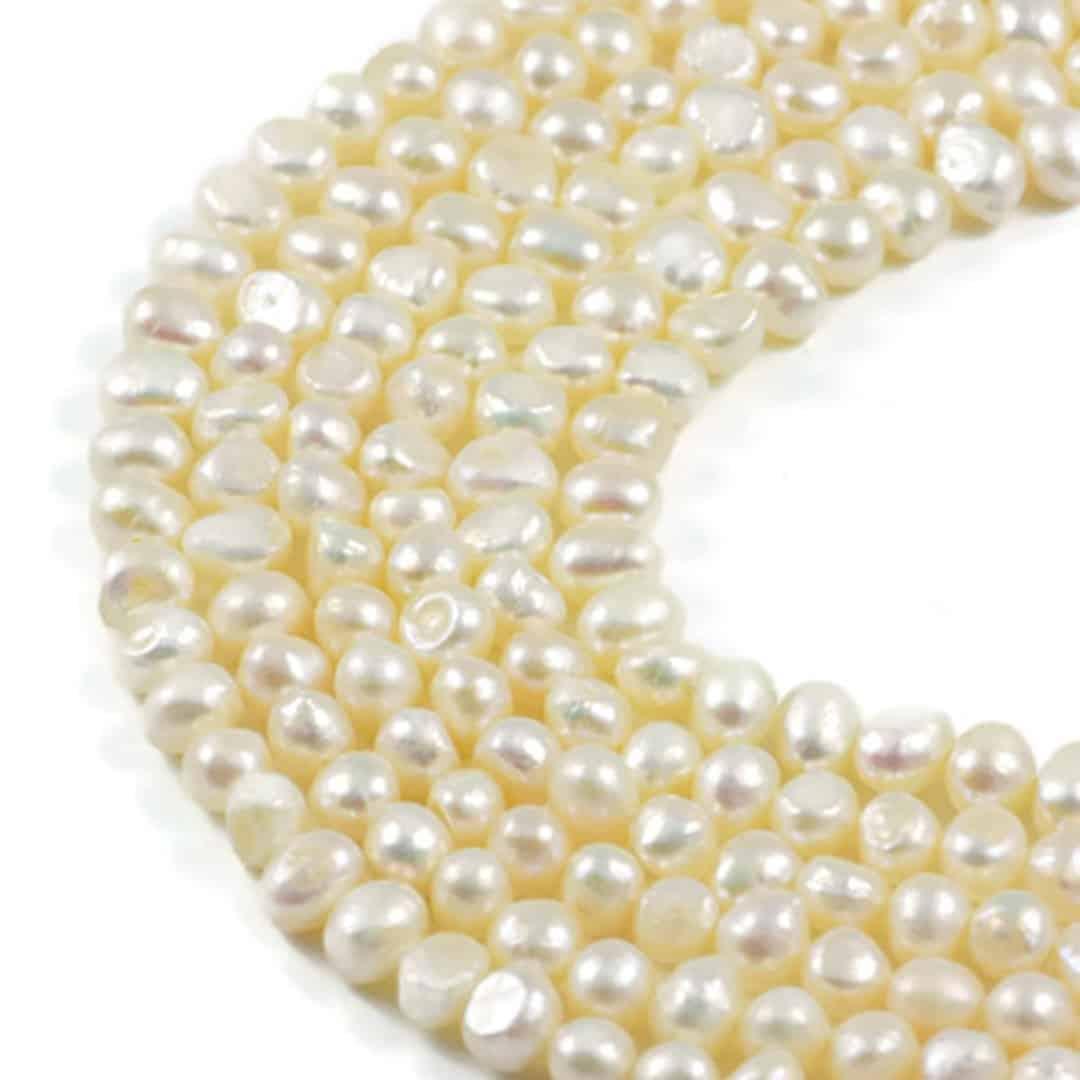 AqBeadsUk Freshwater Crystal Energy Pearl with Natural Healing Power - Premium Genuine Cultured 7-8mm Dyed Cream Pearl Potato Jewellery Making Beads on 15 inch 2 Strands
