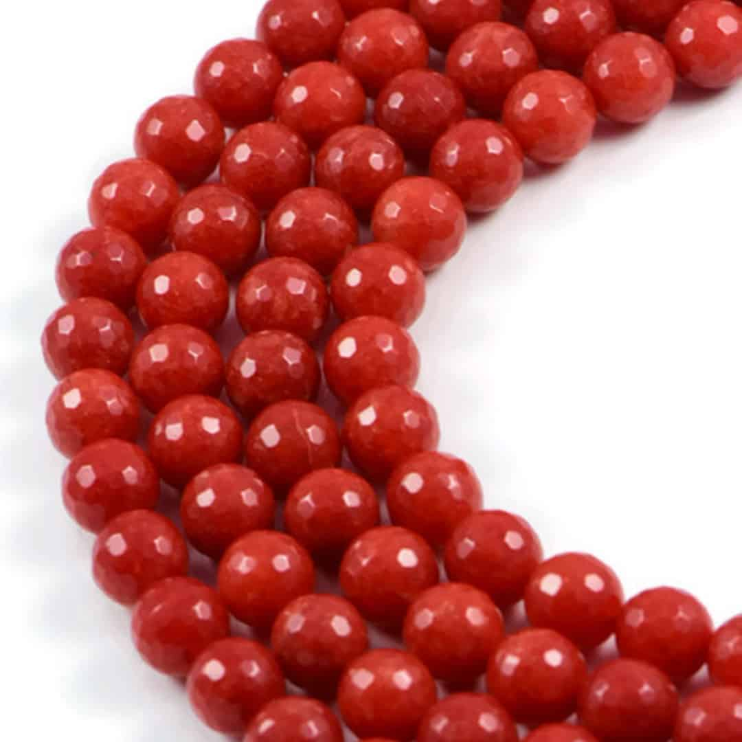 AQBEADSUK 10mm Red Agate Feceted Round Gemstone Beads Strand 15.4 inch Jewellery Making Beads