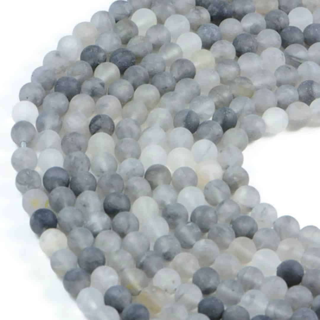 Semi-Precious Natural Matte Cloudy Quartz 8mm Round Gemstone Jewellery Making Beads On 15.5 Inch Strand