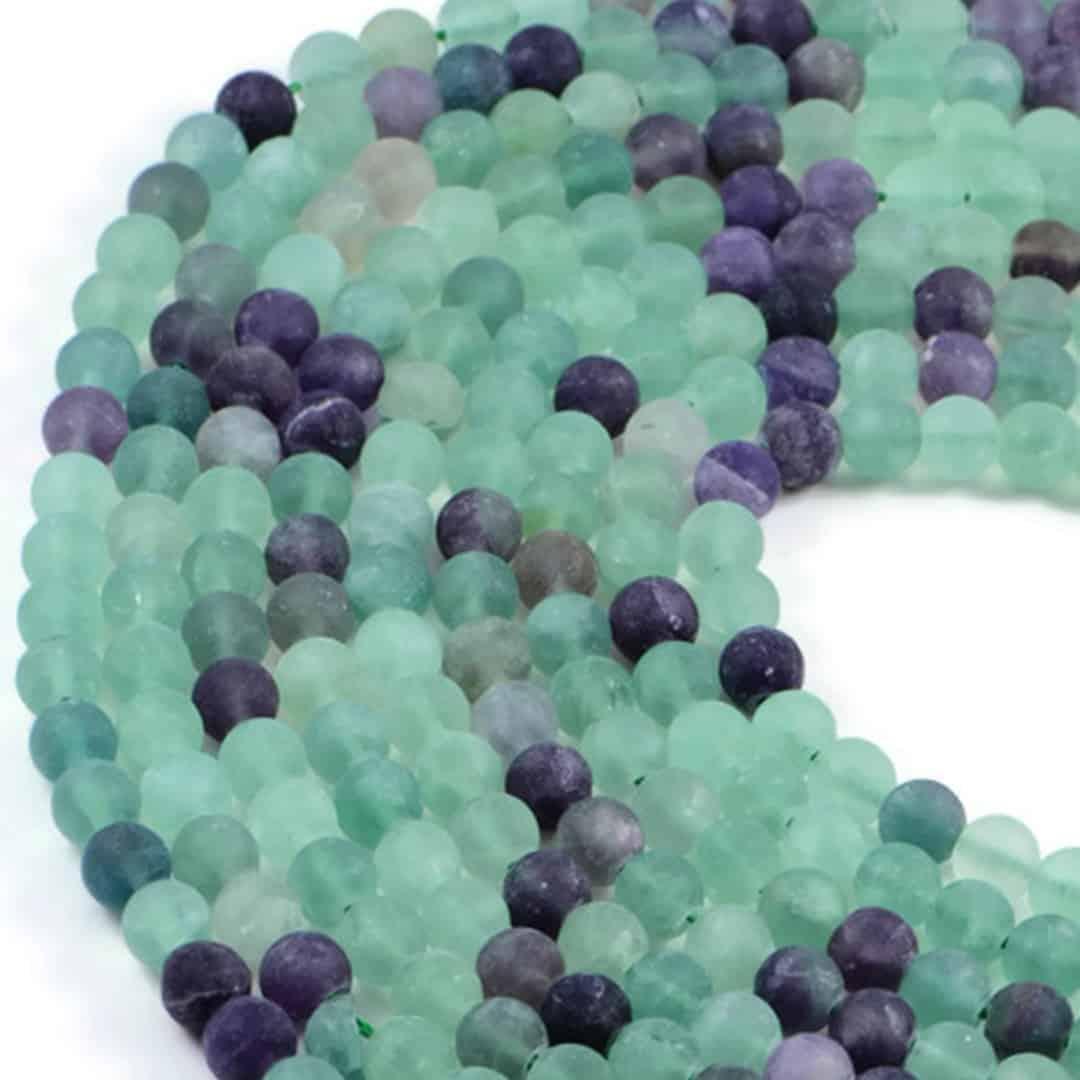 Semi-Precious Natural Matt Fluorite 8mm Round Gemstone Jewellery Making Beads On 15 Inch Strand
