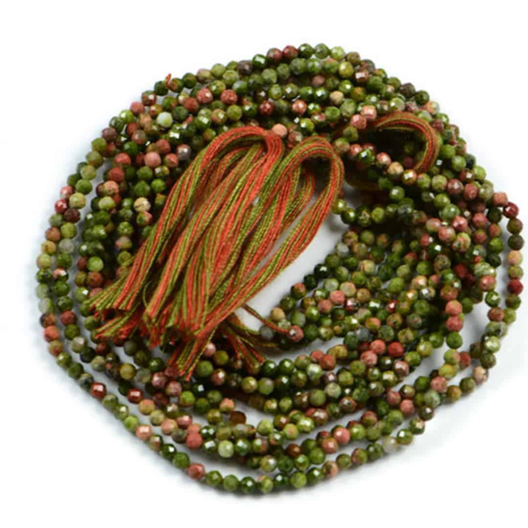 Semi Precious Micro Faceted Unakite 2-2.5mm Gemstone Rondelle beads On 13 Inch Strand