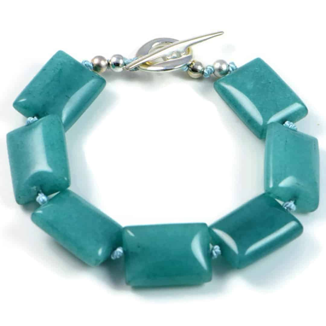 "Semi-Precious Gemstone 12x18mm Green Agate Beads 7.25"" Hand-Knotted Women's Bracelet with 100% Silk Thread"