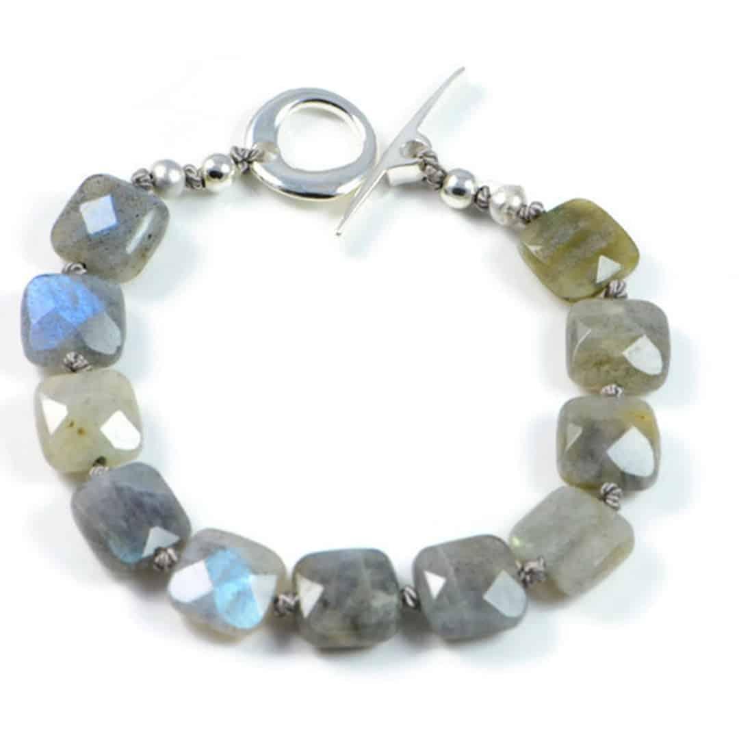 "Semi-Precious Gemstone 10mm Natural Labradorite Beads 7"" Hand-Knotted Women's Bracelet with 100% Silk Thread"