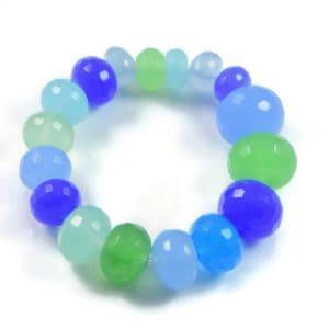 "Semi-Precious Gemstone Multicolour Agate Beads 6.75"" Stretch Bracelet on Elastic Cord"
