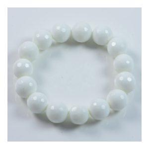 "Semi-Precious Gemstone 12mm White Onyx Beads 6.75"" Stretch Bracelet on Elastic Cord"