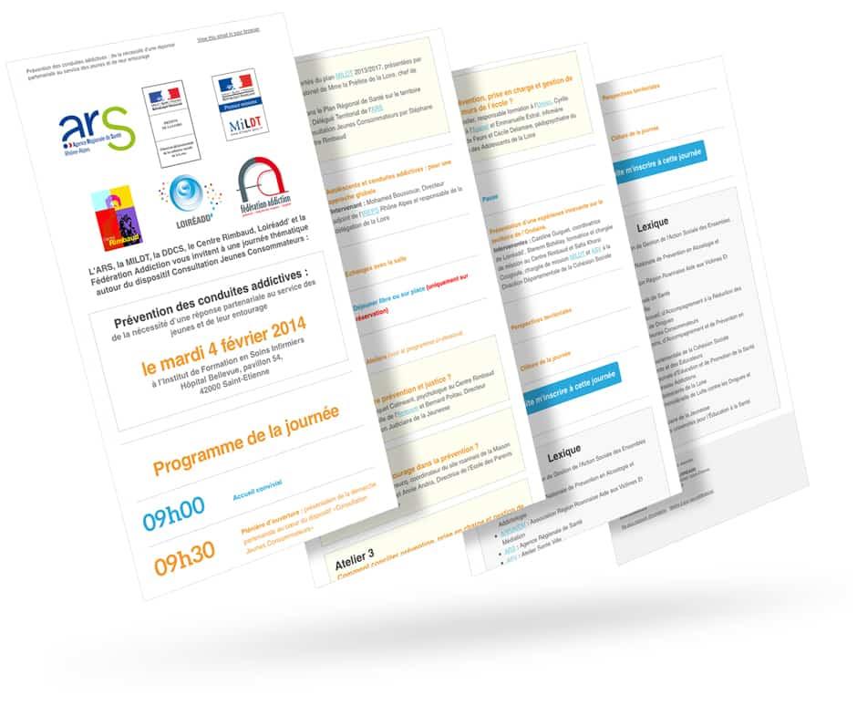 Création et gestion d'un mailing avec l'application MailChimp pour la Journée de Prévention des conduites addictives organisée par l'association Loireadd'.