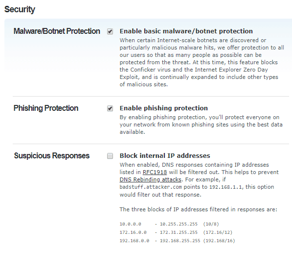 OpenDNS Filtering Security Categories