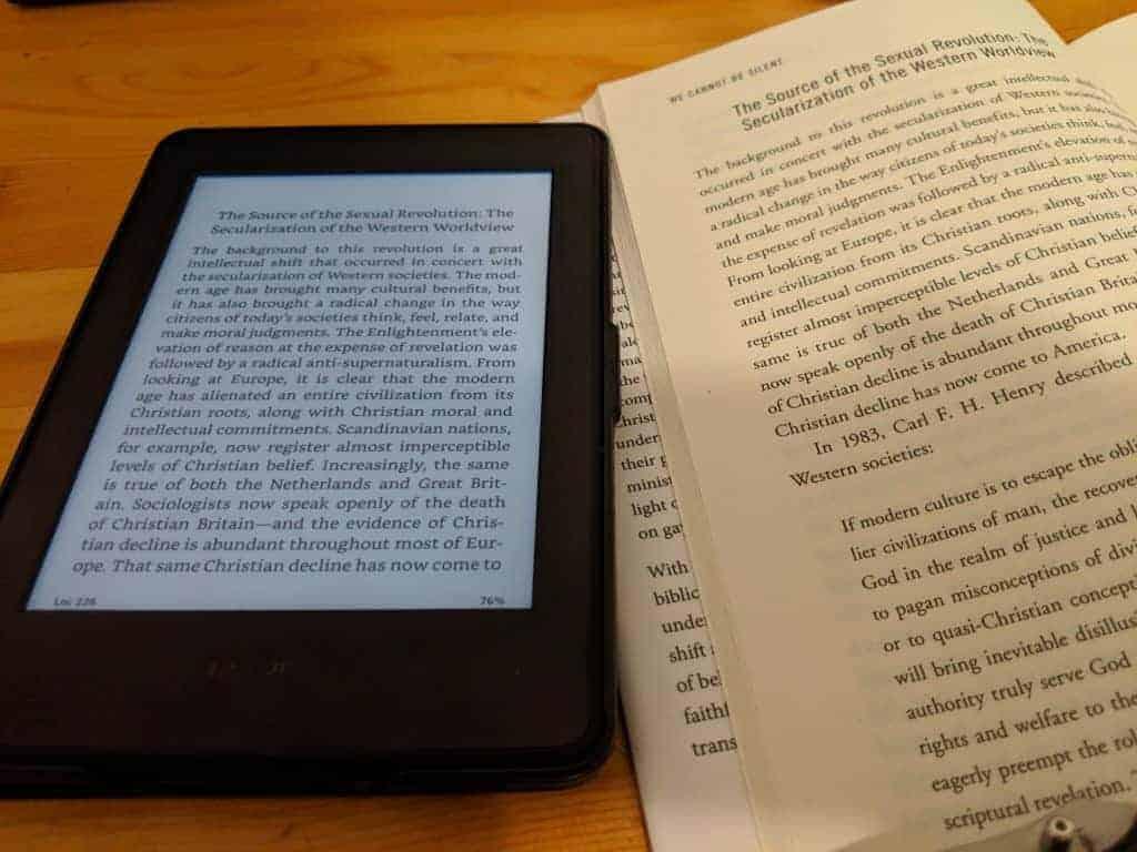 Kindle Paperwhite vs Book