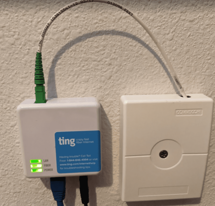 Ting fiber to ethernet device