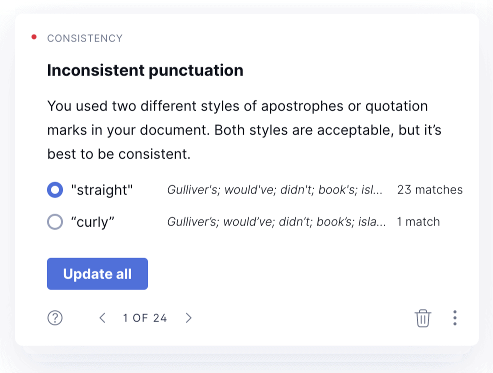 Inconsistent Punctuation Grammarly